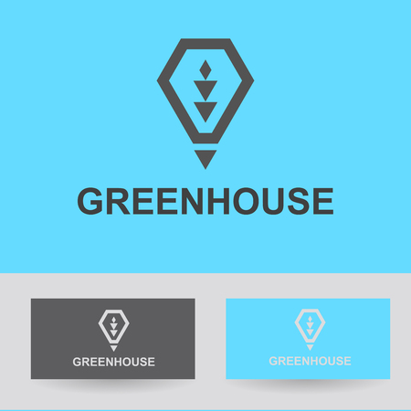 greenhouse and ecology: Business Icon - greenhouse, vector logo concept illustration lamp, heat, light green. Organic logo. Ecology logo. Leafs logo. Bio logo. Nature organic logo. Agriculture logo. Vector logo template.