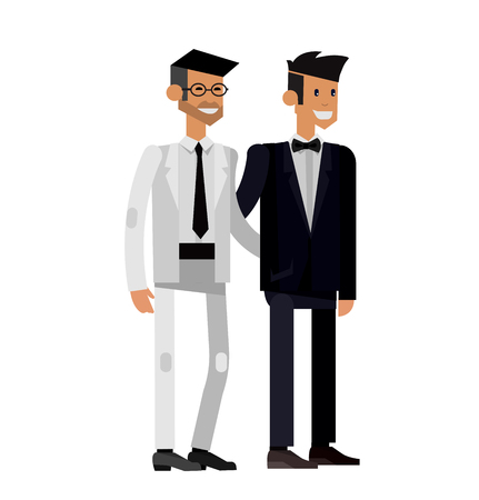 Nontraditional family. Happy cute wedding gay homosexual couple. Cool gay wedding character flat illustration. Vector gay wedding. Gay wedding Illustration