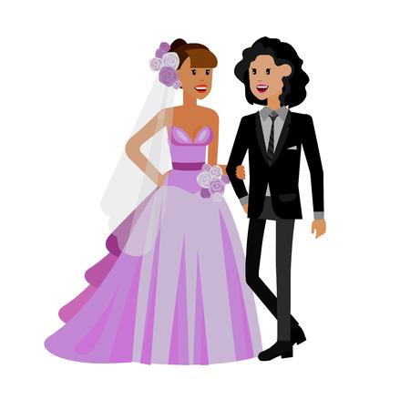 Nontraditional family. Happy cute wedding gay lesbian homosexual couple. Cool gay wedding character flat illustration. Vector gay lesbian wedding. Gay lesbian  wedding