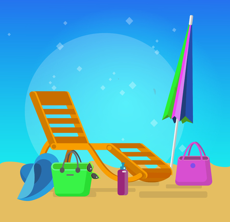 recliner: beach chaise longue, recliner in different design, vector beach chaise longue set, beach chaise longue illustration on background. Vector beach chaise longue