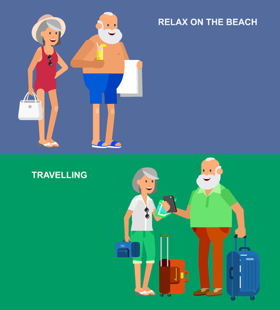 age old: Character senior, senior age travelers. Old age retired tourists couple. Elderly couple senior having summer vacation. Old tourists with map and gadget, senior in swimsuits go on beach. Active