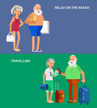 Charakter starszy, senior podróżujący wieku. Starość emeryturze para turystów. Starsi rangą posiadające wakacje letnie. Stare turyści z mapą i gadżetów, senior w strojach kąpielowych iść na plażę. Aktywny