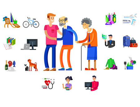 pension: vector detailed character senior, senior age with caregiver. Old age couple and icons. Pension hobbies and interests leisure of pensioner Illustration