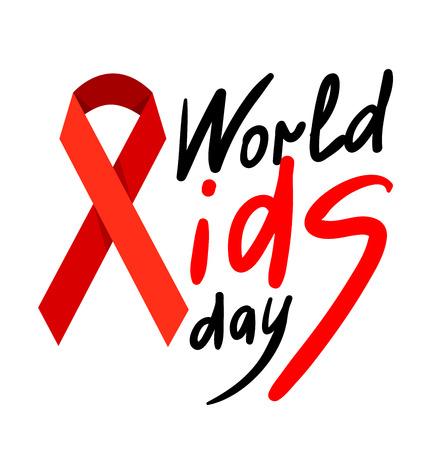 Journée mondiale du sida. 1er Décembre poster Journée mondiale du sida avec un texte calligraphique Day SIDA. Vector AIDS Day illustration