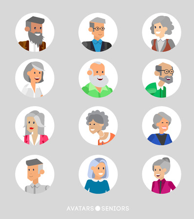 old couple walking: Cute cartoon seniors avatars set, male and female seniors, old people faces collection. Vector detailed seniors avatars , old people avatars, seniors avatars Illustration