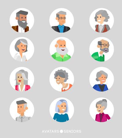 las personas mayores de dibujos animados lindo avatares, seniors masculinos y femeninos, las personas de edad se enfrenta a la colección. Vectorial detallado de la tercera edad, personas mayores avatares avatares avatares, personas mayores