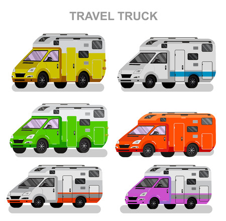 motorhome: Travel van flat  icon with long shadows. Travel car and motorhome. Vector detailed mobile home. Road trip poster. Travel car vector Illustration