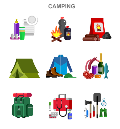 foldable: Camping and barbecue object. Camping Weekend and barbecue party and picnic icons. Hiking, barbecue and camping object. Vector barbecue, camping flat illustration