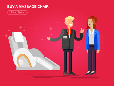 armchair shopping: Vector detailed character seller man sells massage chair. Woman buy massager, cool flat  illustration