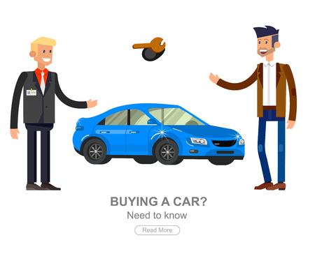 owner money: design concept of choice car and buying a car. Vector car, car cool flat, car  illustration. Vector detailed character buyer and seller, cool flat  illustration isolated on white background.