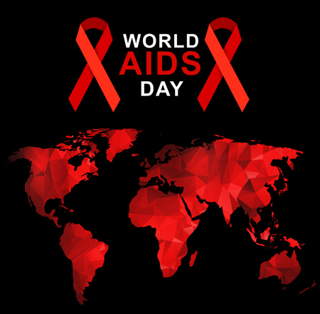 carefulness: World AIDS Day. 1st December World Aids Day poster with with red polygonal world map . Vector illustration