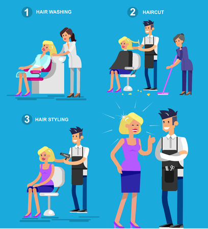 satisfied customer: Detailed character Barber makes a hair washing, cut and styling for glamorous girl, beautiful smiling blond woman. Web banner template  for beauty saloon Illustration