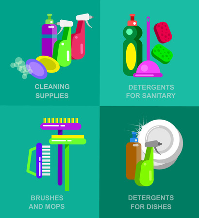 fittings: Flat design for cleaning service and cleaning supplies. Vector detailed Cleaning kit icons. Vector cleaning banner. Illustration detergent for dishes, detergent for sanitary fittings