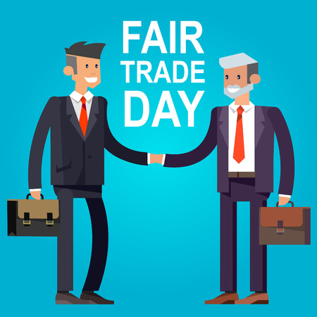 trade fair: Digitally generated Fair Trade. Businessmen shaking hands. Vector illustration Illustration