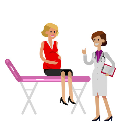 woman lying in bed: detailed character happy pregnant woman having a doctor visit in hospital. Gynecologist woman indicates that everything is OK. Cool flat  illustration isolated on white background. Illustration