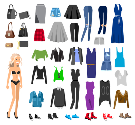 Woman Clothes. Paper doll with clothes, skirt and blouse, boots, glasses and jeans, sweater, shoes, bags. Clothes vector flat illustration set. Clothes and accessories Ilustração