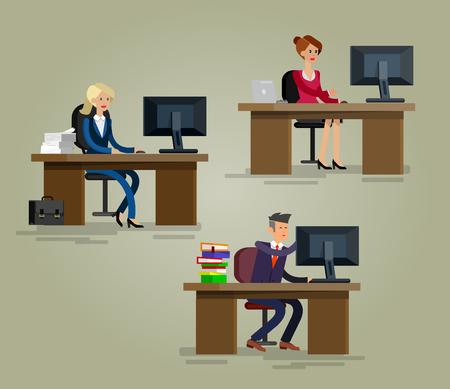 Vector detailed character corporate Office worker, business team people sitting behind desk. Office workers. Men and women office worker. Office worker cool flat  illustration Reklamní fotografie - 57299603