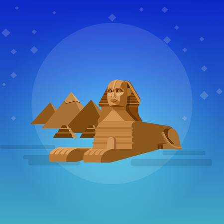 commandments: High quality, detailed most famous World landmark. Sphinx and pyramids background. Travel vector. Travel illustration. Travel landmarks. Happy travel