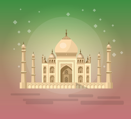 jehan: High quality, detailed most famous World landmark. Vector illustration of Taj Mahal an ancient Palace in India. Travel vector. Travel illustration. Travel landmarks. Happy travel