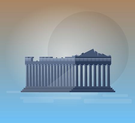 ancient civilization: High quality, detailed most famous World landmark. Flat design of parthenon greek illustration vector. Travel vector. Travel illustration. Travel landmarks. Happy travel Illustration