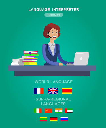 translator: Vector detailed character Language translator concept with woman, world map with flags of world languages, Language translator  illustration. Vector Language translator Illustration
