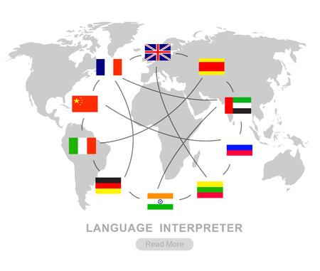 Vector gedetailleerd Taal vertaler concept met vlaggen van de wereld talen, cool flat illustratie