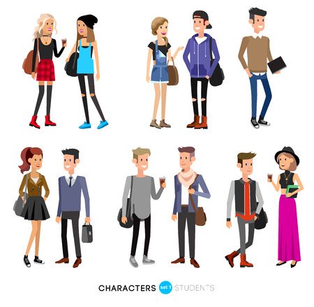 Detailed character students, student Lifestyle, couple of young people in street clothes style. Illustration of character student. Vector flat student go to study