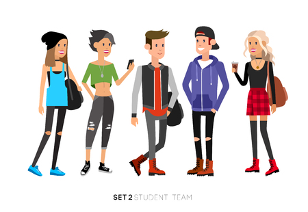 Detailed character students, student Lifestyle, team of young people in street clothes style. Illustration of character student. Vector flat student go to study 向量圖像
