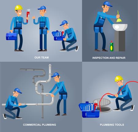 proffesional: detailed character proffesional plumber men set , plumber repair professional, plumber fixing water pipes. Vector plumber set. Illustration plumber character.