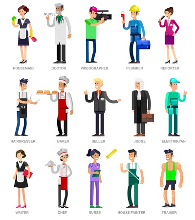 profession: Profession people. Detailed character professionals . Illustration of character Profession people. Vector flat Profession people