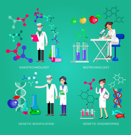 genetic modification: Detailed character men woman scientis, laboratory technician scientis looking through a microscope, Biotechnology scientis, genetic engineering scientis, nanotechnology and genetic modification scientis