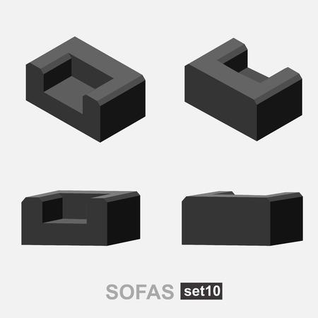 sofa: Set of the isolated isometric sofa. Vector sofa. Illustration sofa. Office sofa, sofa bed in living room, sofa in cafe. Colorful sofa.