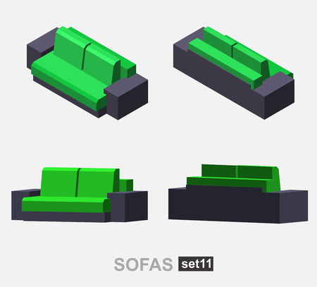 sofa set: Set of the isolated isometric sofa. Vector sofa. Illustration sofa. Office sofa, sofa bed in living room, sofa in cafe. Colorful sofa.