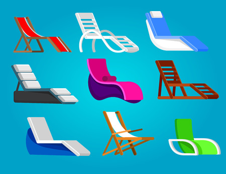 longue: beach chaise longue in different design. Retro beach chaise longue. Vector beach chaise longue set, beach chaise longue illustration. Vector beach chaise longue