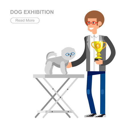 beautifully: Vector detailed character man with dogs on pet show competition. Pomeranian dog winning the prize on  pet show. Vector pet show