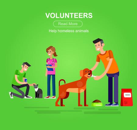 comida rica: Vectorial detallada carácter Voluntario concepto de diseño con la mujer de Voluntarios y un transportador de Voluntarios y el hombre gato, atención veterinaria para animales sin hogar Voluntario Vectores