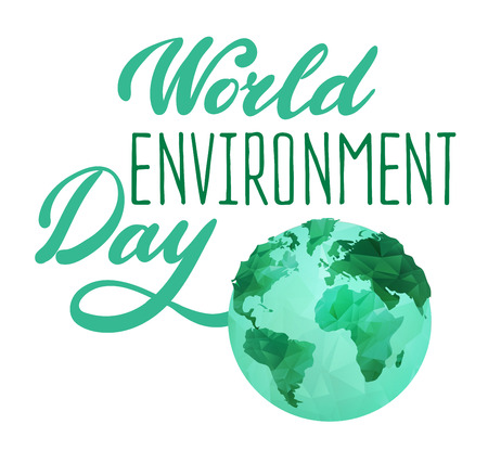 environmental awareness: World Environment Day concept wit polygonal earth globe and stylish calligraphic text. Earth Day. Eco friendly ecology concept. Flat Vector illustration.