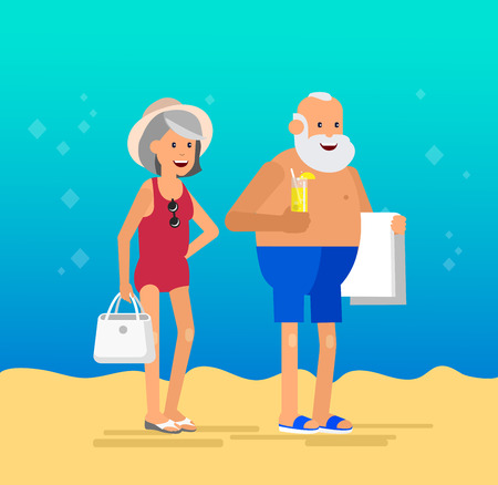 retired: Character senior, senior age travelers. Old age retired tourists couple. Elderly couple senior having summer vacation. Old tourists, senior in swimsuits go on beach. Active