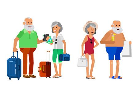 Karakter senior, senior leeftijd reizigers. Ouderdom gepensioneerd echtpaar toeristen. Ouderen paar senior met zomervakantie. Oude toeristen met kaart en gadget, senior in zwemkleding te gaan op het strand. Actief Stock Illustratie