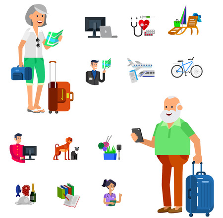 age old: vector detailed character senior, senior age. Old age man and icons. Pension hobbies and interests leisure of pensioner