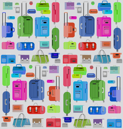 travel bag: Travel bags in various colors. Travel bags in various colors. Luggage suitcase and Travel  bag isolated on white background. Vector travel bags. Illustration bag illustration pattern