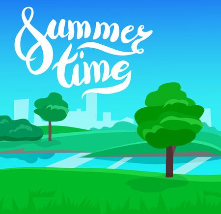 unending: cartoon landscape with calligraphy brush lettering, summer time, vector unending background landscape with herbs and sky. Vector landscape with calligraphy brush lettering. Flat summer poster