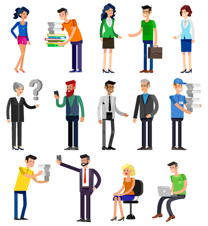 people   lifestyle: Vector detailed characters people, business people men and women in action. Business people shake hands, with a briefcase, secretary, big boss, startup man, colleagues, business people lifestyle