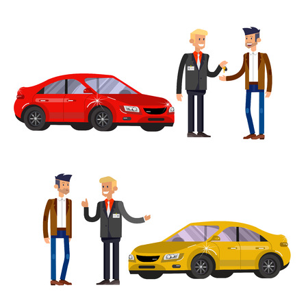 buyers: design concept of choice car and buying a car. Vector car, car cool flat, car  illustration. Vector detailed character buyer and seller, cool flat  illustration isolated on white background.