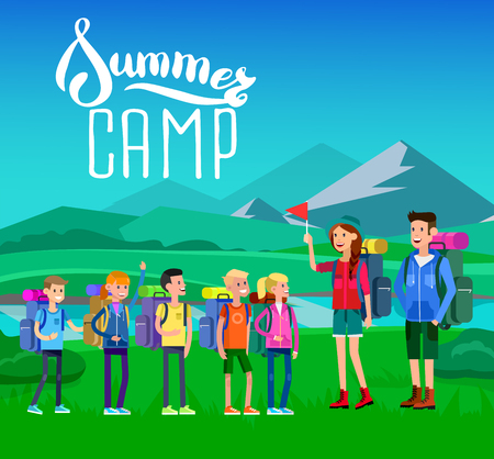 counselor: vector illustration of kids summer camp on beautiful landscape . Vector characters   camp counselor and children. Camping banner and icon. Vector kids summer camp. Illustration summer camp