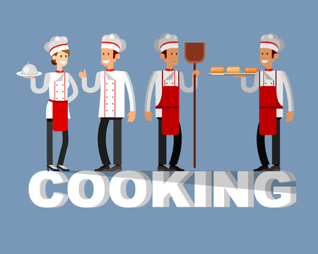 socialize: Vector detailed character people in the restaurant,  baker and Chef. Restaurant team people character. Vector restaurant illustration. Cooking and Chef people characters
