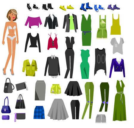 Kleren vrouw. Papier pop met kleding, rok en blouse, laarzen, bril en een spijkerbroek, trui, schoenen, tassen. Kleren vector flat illustratie set. Kleding en accessoires