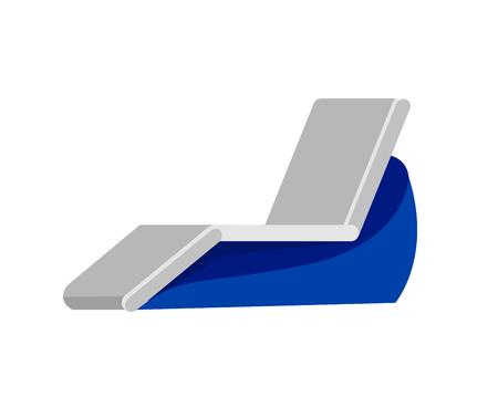 recline: Vector detailed  beach chaise longue, beach chaise longue. Beach chaise longue isolated on white background. Beach chaise longue for summer background
