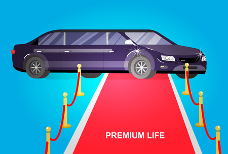 celebrities: detailed vector luxury limousine car and red carpet for world premiere, red carpet for celebrities and guests. Vector red carpet and luxury limousine