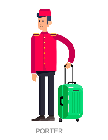doorkeeper: Vector detailed character professional. Cute cartoon indoor hotel porter, bellboy, bellman, bellhop, doorman, doorkeeper, isolated on a white background